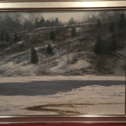 "Joseph Reboli [ born 1945 - 2004] American artist ""Hillside in Winter ""1977"