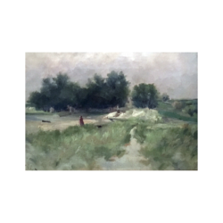 Clara L Dyer (1851-1922) American Landscape with figure, 1884. Oil on canvas ? x ? inches Signed: At lower left. 'C. L. Dyer'.