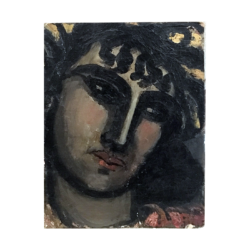 [unattributed] American Modernist head, ca.1920s Oil on board 11 x 14 inches Signed at lower right (illegible).