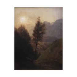 [unattributed] American Sun setting in the mountains, ca.1880s Oil on board 10 x 13 inches Signed at lower left (illegibly).