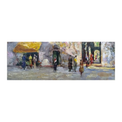 Leonardo Bazzaro [1853-1937] Italian People in the street, ca.1920s Oil on board 5 x 12-1/2 inches Signed at lower left.