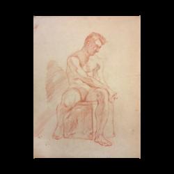 Aiden Lassell Ripley [1896-1969] : Male nude study, Harvard, 1967.