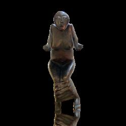 Waldemar Otto [b 1929] Polish bronze : Reclining female nude, ca.1960s.