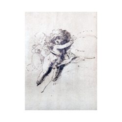 [unattributed] French school : Baroque 17th-century drawing of a cherub, ca.1600s.