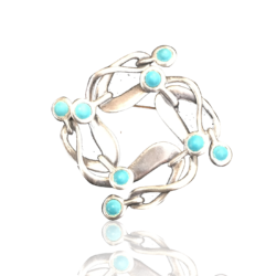 Rancho Alger [?-?] Mexican sterling : Sterling silver and turquoise pin, ca.1980s.