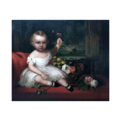 [unattributed] American School : Young child with flowers, ca.1840.