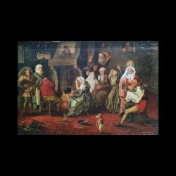 [unattributed] Flemish school : Flemish tavern scene, ca.1790-1820.