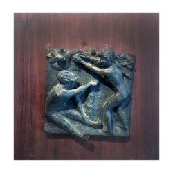 [unattributed] bronze bas relief on board : Adam and Eve, 1941.