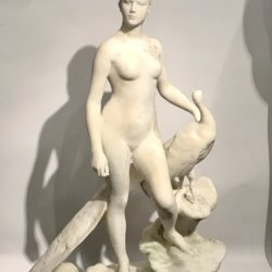 Alexandre Falguiere [1831-1900] French sculptor : La Femme au paon [Juno and the peacock], ca.1890.