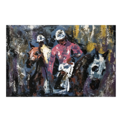 [unattributed] American sports painting : The jockeys, ca.1980s.