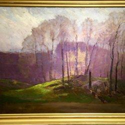 John Adamos Manol [1900-ca.1989] American school : Purple landscape, ca.1970s.