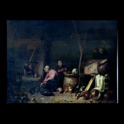 [unattributed] Flemish school : Feeding the cat, ca.1700s.