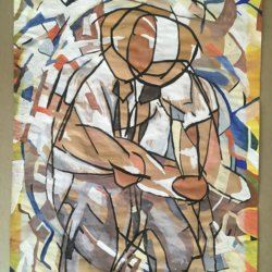 [unattributed] American school : Post Cubist figurative composition, 1952.