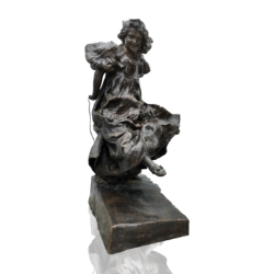 Giuseppe Renda [1859-1939] Italian bronze : Young girl rope-jumping, ca.1890