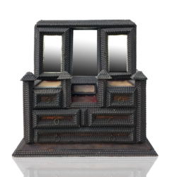 [unattributed] Tramp art : Miniature chest of drawers jewelry box, ca.1880.