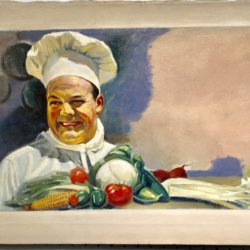 American school illustration : Happy cook, ca.1940s.