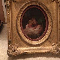 Johann Georg Meyer von Bremen [1813-1886] : Watching baby sleep, ca.1880s.