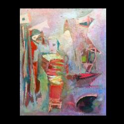 Peter Glushanok [1911-1996] New York school : Modernist genre, ca.1950.