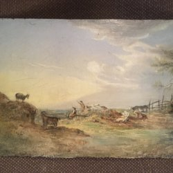 [unattributed] : Sunset with animals and people, ca.1790