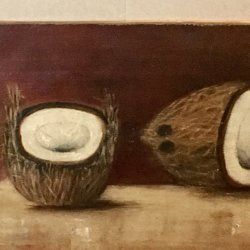 [unattributed] : Still-life with coconuts, 1870s.