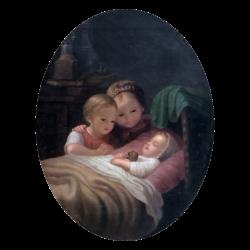 Johann Georg Meyer von Bremen [1813-1886] : Well-guarded sleep, ca.1852.