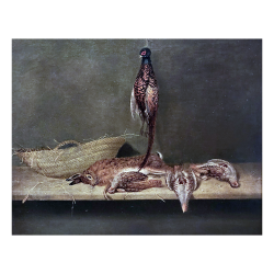 Karl Emmanuel Jansson [1846-1874] : Still-life with pheasants, hare and woven basket, 1874.