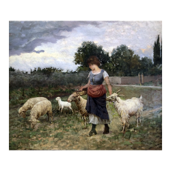 [unattributed, Italian school] : Young girl with sheep, ca.1870.