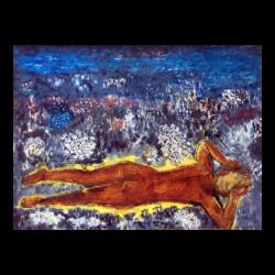 [unattributed] Japanese modern painting : Lying among flowers, ca.1960s.
