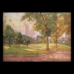 """John """"Jan"""" Zwara [1880-1951] : Central Park looking west towards the Majestic Hotel, 72nd Street, New York, NY, ca.1930s-ca.1940s."""