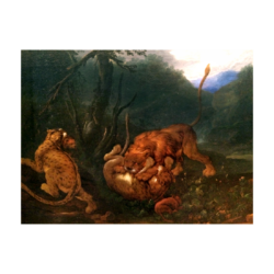 James Ward [attributed, 1769-1859] English painter : Lion fighting leopards, ca.1820.